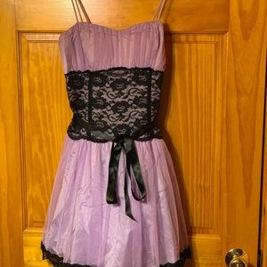 deb purple with black lace dress
